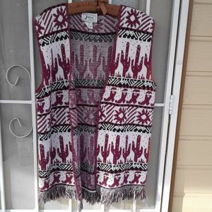 JOYCE brand Womans Southwest Motif Knit Vest Sz Lg